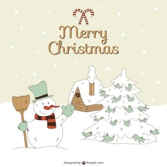 Веселый векторные рождественские с снеговика