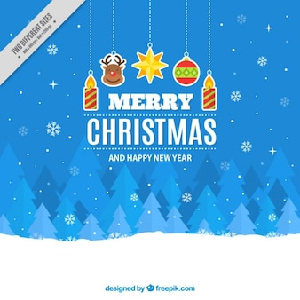 Merry christmas background with stickers and geometric trees