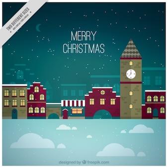 フラットデザインの村とメリークリスマスの背景