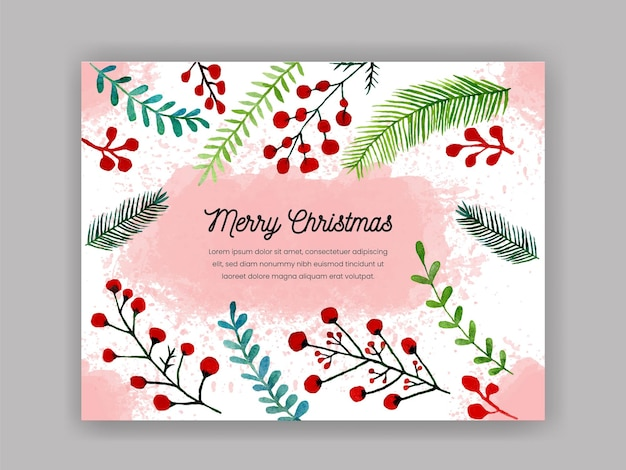 Merry christmas background with watercolor decoration