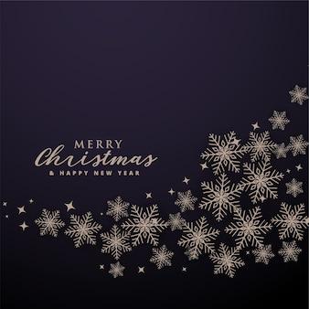 波状の雪片パターンとメリークリスマスの背景