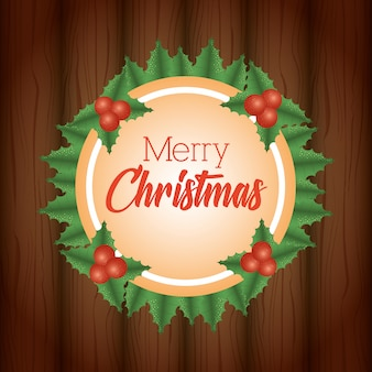Merry christmas background with wreath leaves