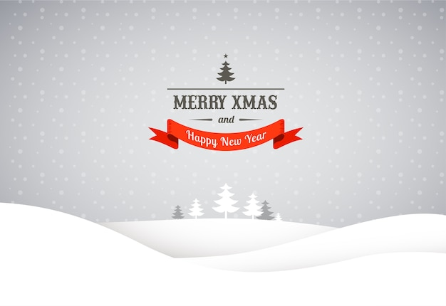 Merry christmas background with xmas trees, vector greeting card, poster and banner template