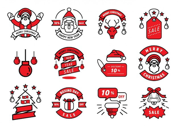 Merry christmas badge line design and element