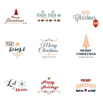 Merry christmas badges collection