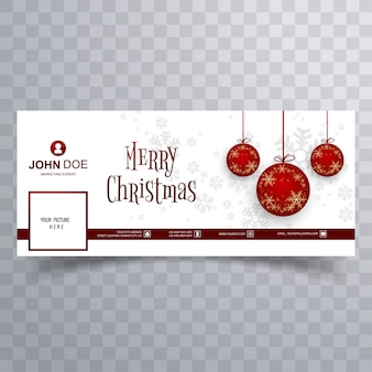 Merry christmas ball facebook banner template background