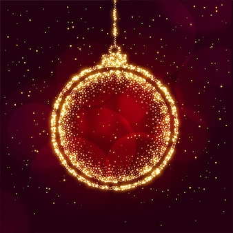 Merry christmas ball made with sparkles background