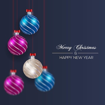С рождеством христовым шар красный серебристый синий стиль цвета рождества