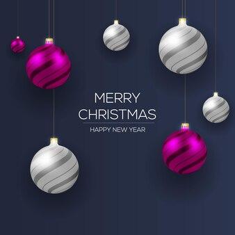 メリークリスマスボールレッドシルバーカラースタイル
