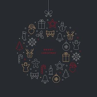 Веселый рождественский мяч тонкая линия иконки фон