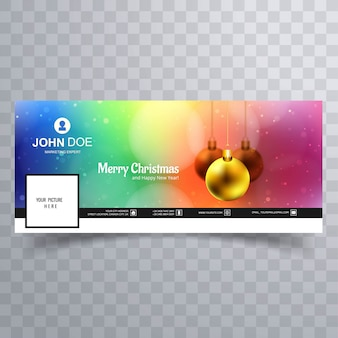 Merry christmas ball with facebook banner template design
