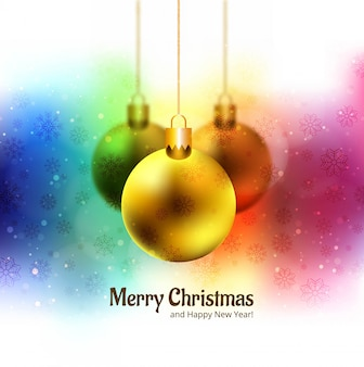 Merry christmas balls glitters colorful festival background