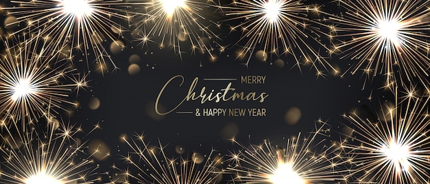 Merry christmas banner background with golden sparklers.