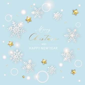 メリークリスマスのバナー。スパークリングライトスターとスノーフレークとキラキラゴールドの紙吹雪の背景クリスマスポスター。