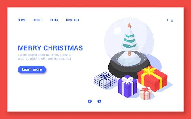 メリークリスマスのバナー。白い背景の上のクリスマスボールとギフトボックス。等尺性