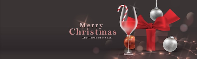 Merry christmas banner. christmas party night celebration illustration background