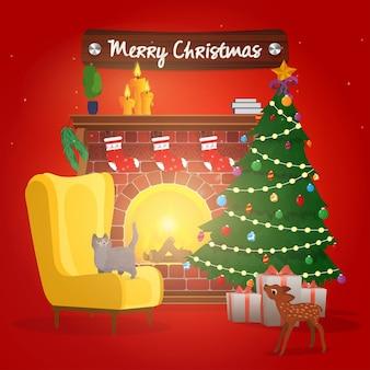 メリークリスマスのバナー。クリスマスツリー、焚き火のある暖炉。猫とクリスマスツリーと暖炉のそばのアームチェア。新年の赤いポスターベクトル。