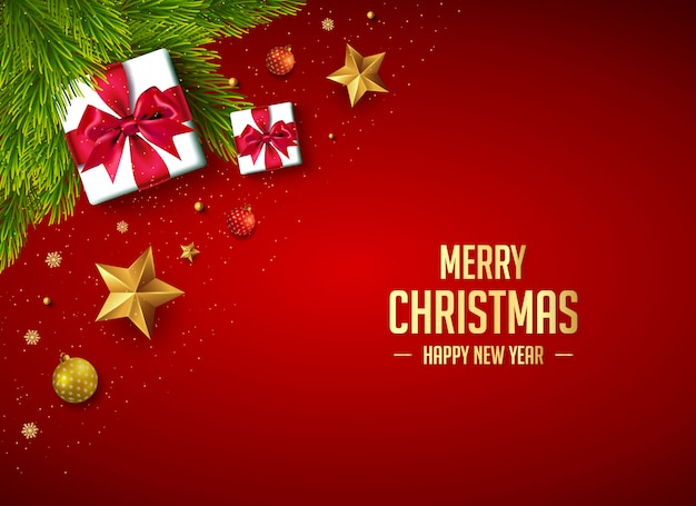 Merry christmas banner decoration with gifts and xmas elements
