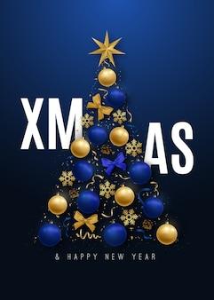 Merry christmas banner decorative christmas tree