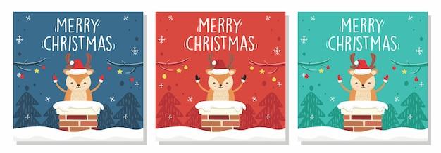 Merry christmas banner deer in chimney