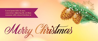 Merry Christmas banner design. Fir cones