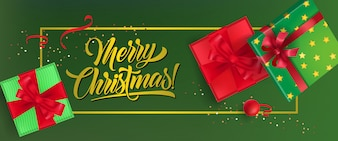 Merry Christmas banner design. Gift boxes with ribbons