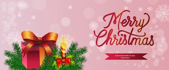 Merry Christmas banner design. Gift, burning candle
