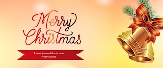 Merry Christmas banner design. Gold jingles
