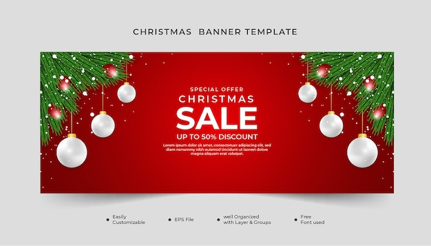 Merry christmas banner design green leaf and xmas balls red background