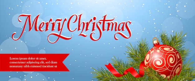 Merry christmas banner design. red bauble, streamer