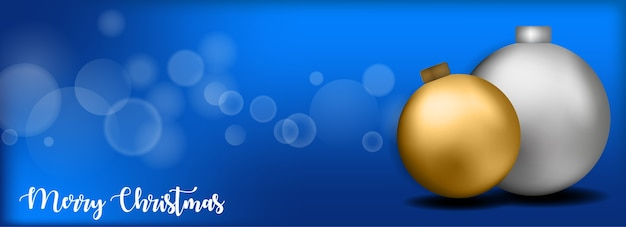 Merry christmas banner design with ball and blue background