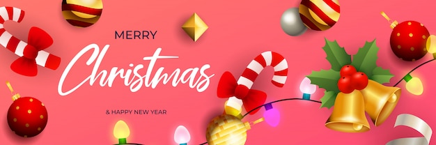 Merry christmas banner design with bells