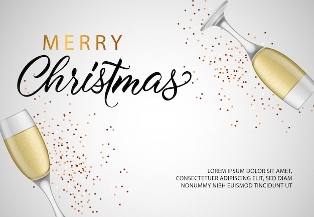 Merry christmas banner design with champagne flutes