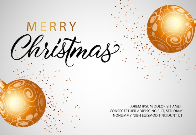 Merry christmas banner design with golden baubles