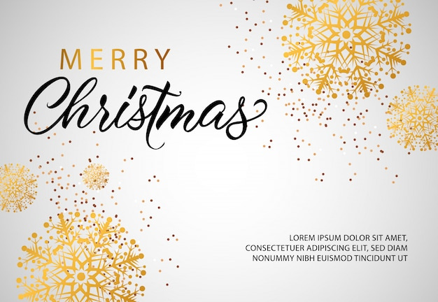 Merry christmas banner design with golden snowflakes