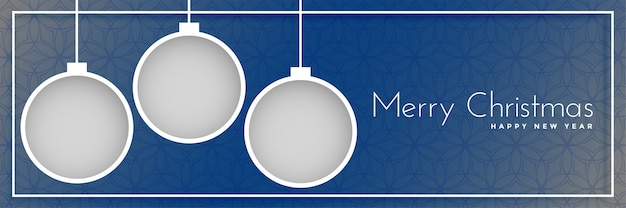 Merry christmas banner design with hanging balls