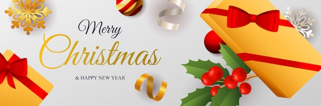 Merry christmas banner design with packaged gift boxes