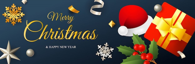 Merry christmas banner design with santa hat and gift box