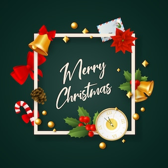 Merry christmas banner in frame with decor on green ground