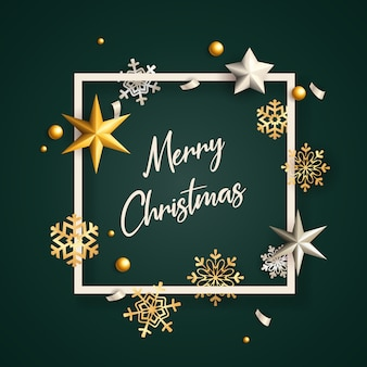Merry christmas banner in frame with flakes on green ground