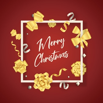 Merry christmas banner in frame with gold bows on red ground