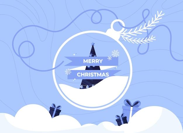 Merry christmas banner illustration with christmas ball