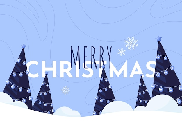Merry christmas banner illustration with christmas tree