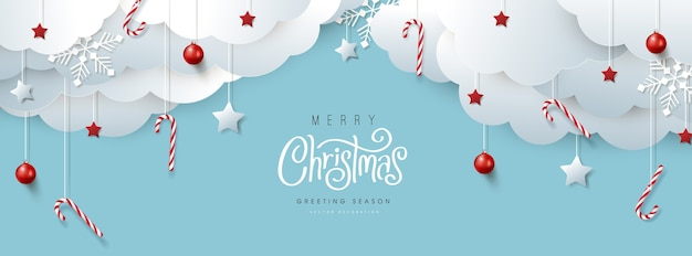 Merry christmas banner or party invitation background