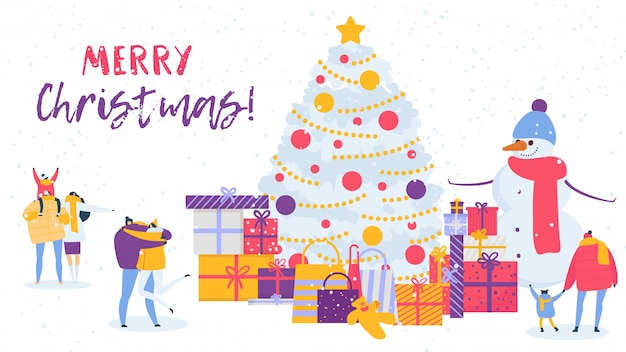 Merry christmas banner, people family winter holiday celebration