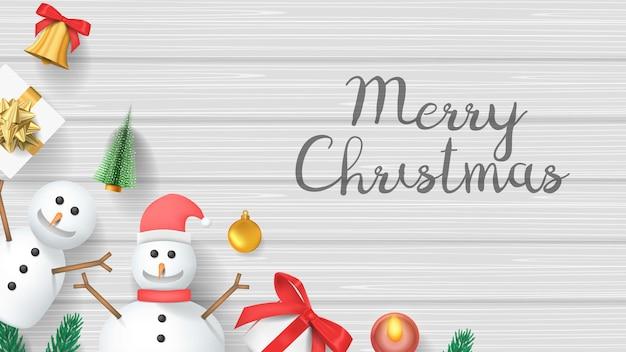 메리 크리스마스 배너, 눈사람 및 나무 질감