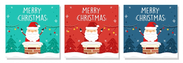 Merry christmas banner square santa claus in chimney