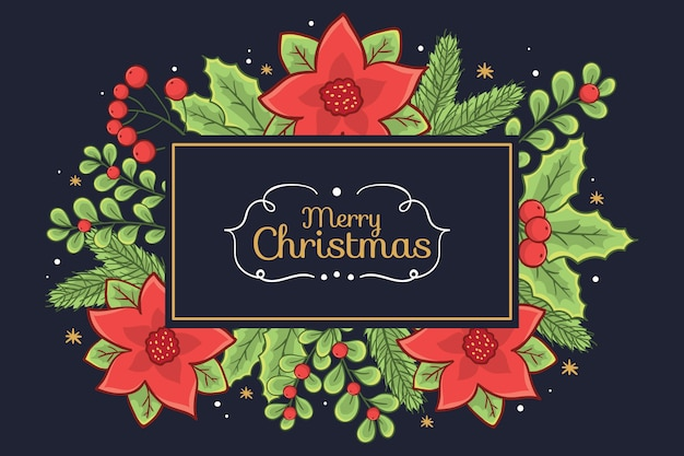 Merry christmas banner surrounded by mistletoe and poinsettia flowers