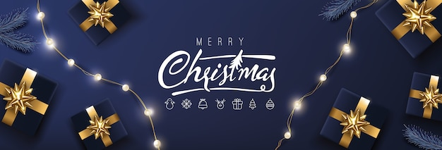 Merry christmas banner template  festive decoration for christmas