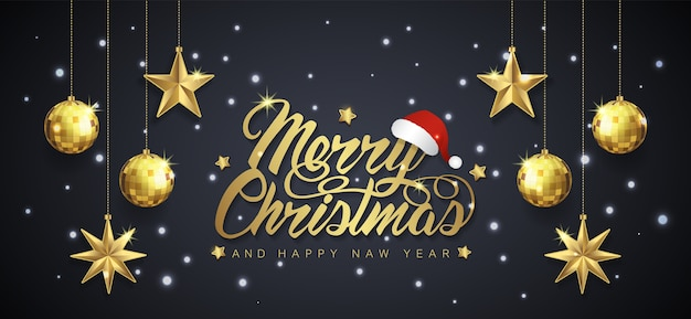 Merry christmas banner template and hanging stars